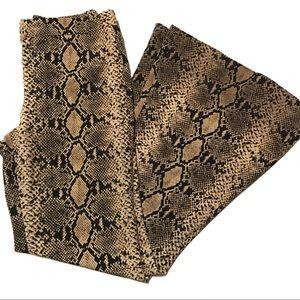 Zara Woman brown tan snakeskin print pants small
